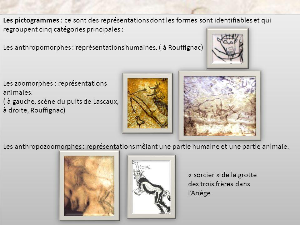 Les pictogrammes : ce sont des représentations dont les formes sont identifiables et qui regroupent cinq catégories principales :