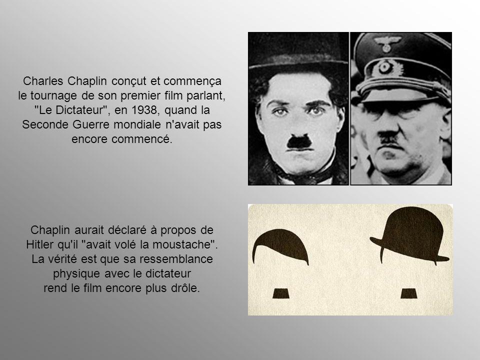 Charles Chaplin conçut et commença le tournage de son premier film parlant, Le Dictateur , en 1938, quand la Seconde Guerre mondiale n avait pas encore commencé.