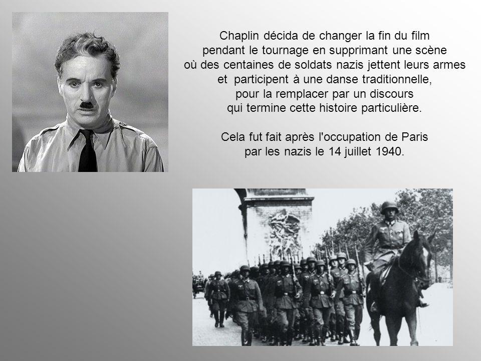 Chaplin décida de changer la fin du film pendant le tournage en supprimant une scène où des centaines de soldats nazis jettent leurs armes et participent à une danse traditionnelle, pour la remplacer par un discours qui termine cette histoire particulière.
