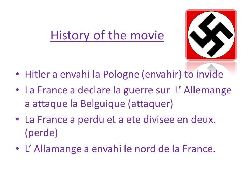 History of the movie Hitler a envahi la Pologne (envahir) to invide