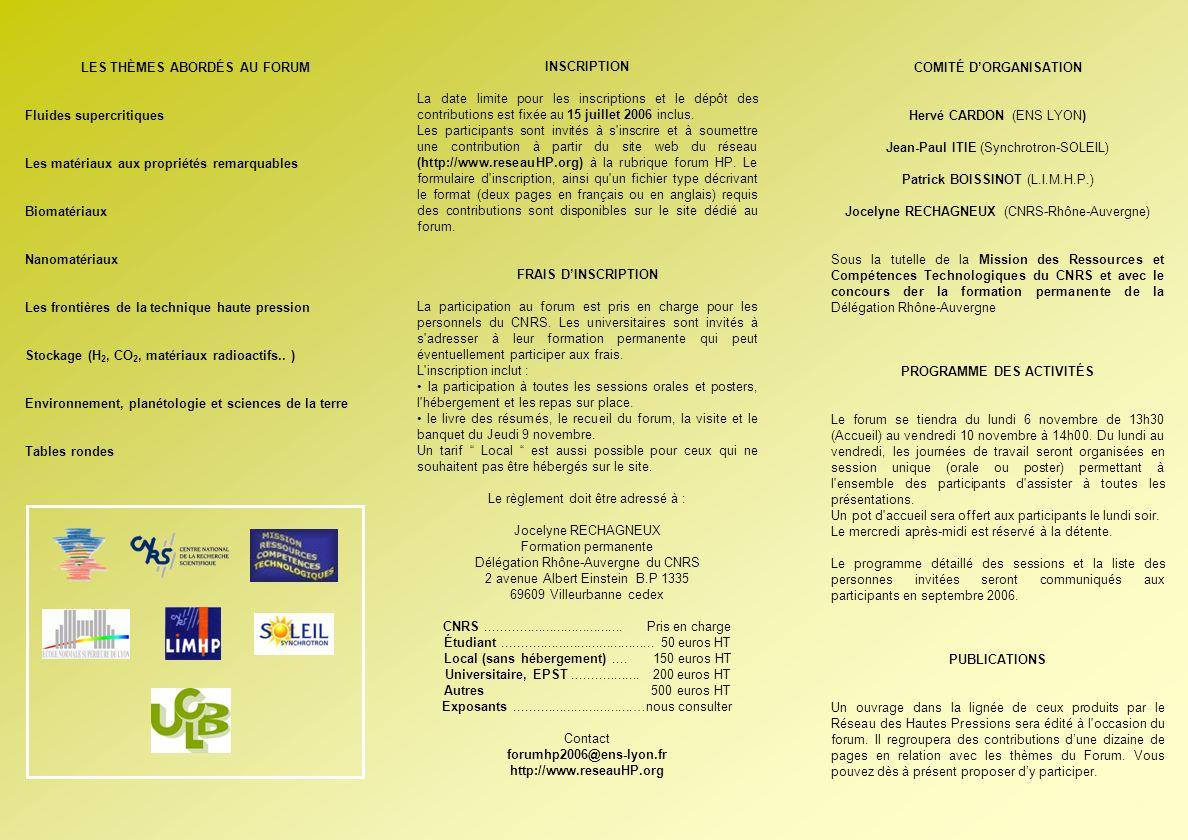 COMITÉ D'ORGANISATION PROGRAMME DES ACTIVITÉS