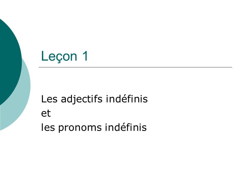 Les adjectifs indéfinis et les pronoms indéfinis