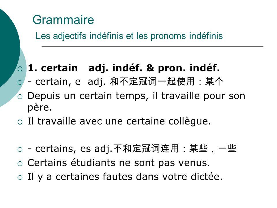 Grammaire Les adjectifs indéfinis et les pronoms indéfinis