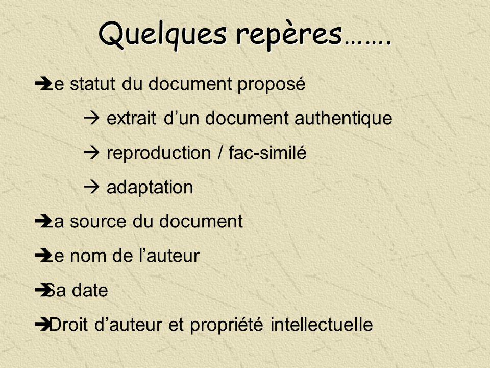 Quelques repères……. Le statut du document proposé