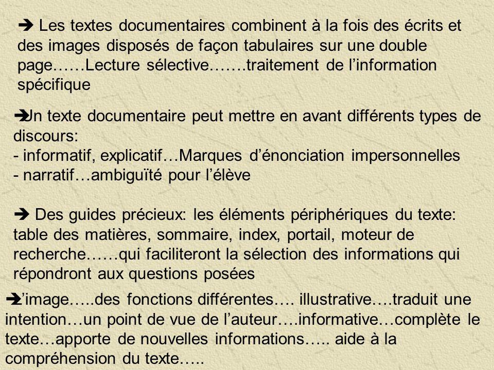  Les textes documentaires combinent à la fois des écrits et des images disposés de façon tabulaires sur une double page……Lecture sélective…….traitement de l'information spécifique