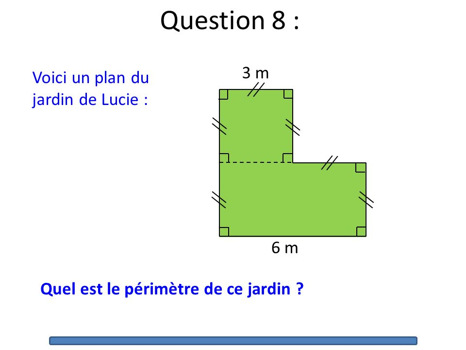 Question 8 : 3 m Voici un plan du jardin de Lucie : 6 m