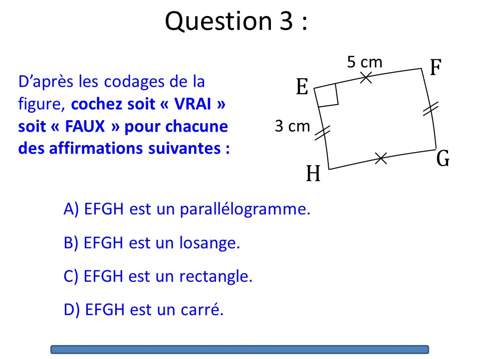 Question 3 : E. F. G. H. 5 cm. 3 cm.