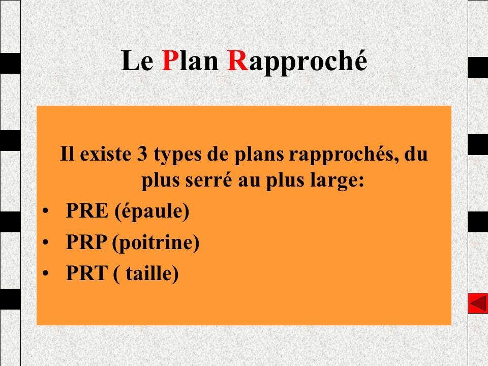 Il existe 3 types de plans rapprochés, du plus serré au plus large:
