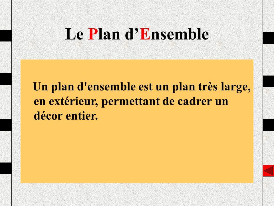 Le Plan d'Ensemble Un plan d ensemble est un plan très large, en extérieur, permettant de cadrer un décor entier.