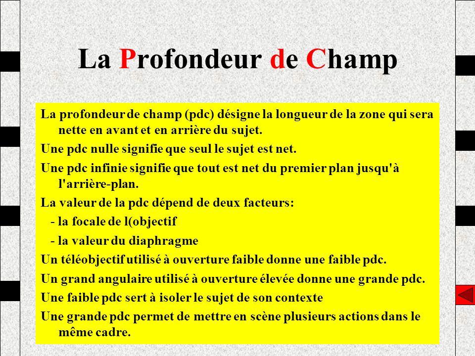 La Profondeur de Champ La profondeur de champ (pdc) désigne la longueur de la zone qui sera nette en avant et en arrière du sujet.
