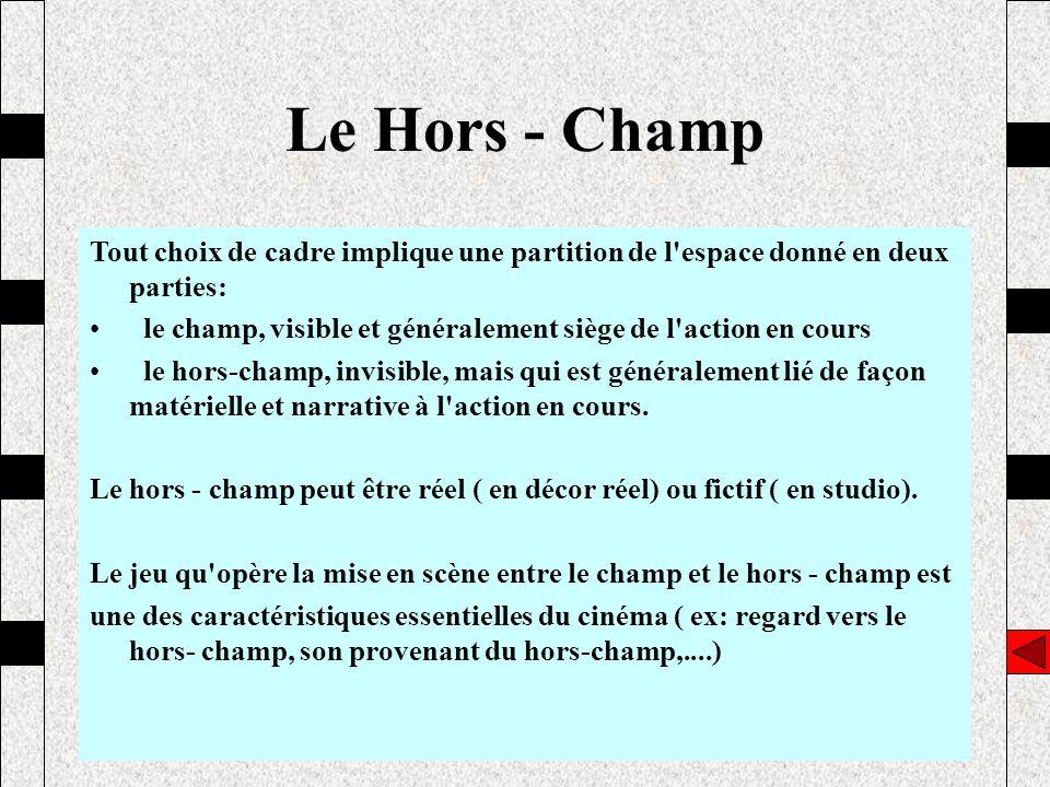 Le Hors - Champ Tout choix de cadre implique une partition de l espace donné en deux parties: