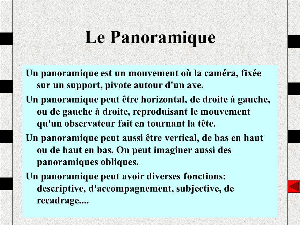 Le Panoramique Un panoramique est un mouvement où la caméra, fixée sur un support, pivote autour d un axe.