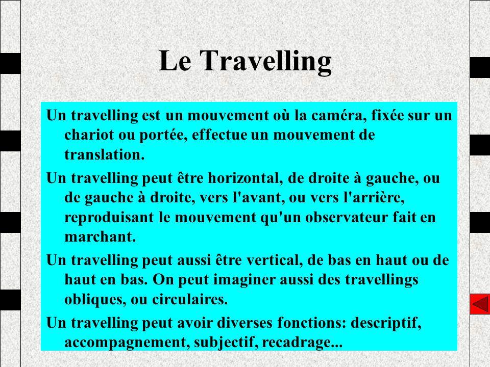 Le Travelling Un travelling est un mouvement où la caméra, fixée sur un chariot ou portée, effectue un mouvement de translation.