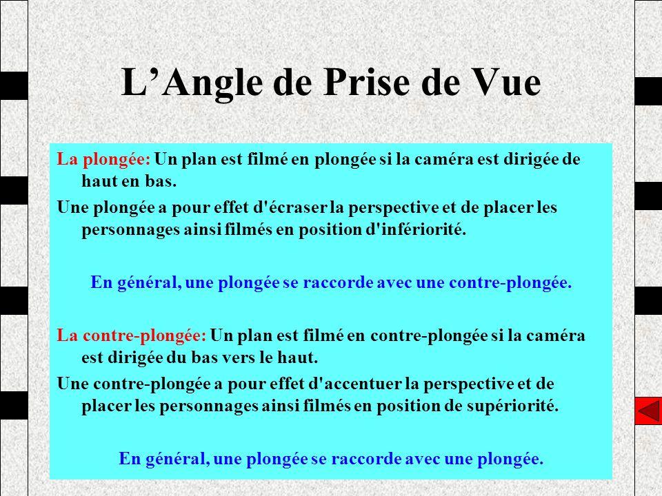 L'Angle de Prise de Vue La plongée: Un plan est filmé en plongée si la caméra est dirigée de haut en bas.