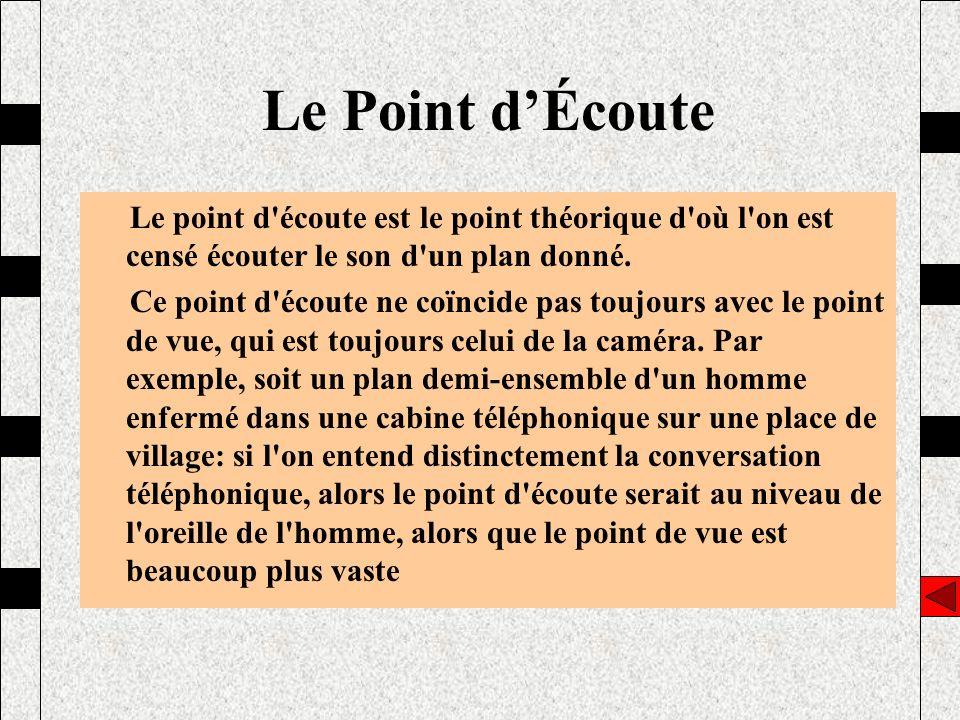 Le Point d'Écoute Le point d écoute est le point théorique d où l on est censé écouter le son d un plan donné.