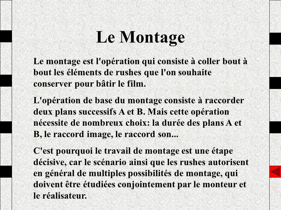 Le Montage Le montage est l opération qui consiste à coller bout à bout les éléments de rushes que l on souhaite conserver pour bâtir le film.