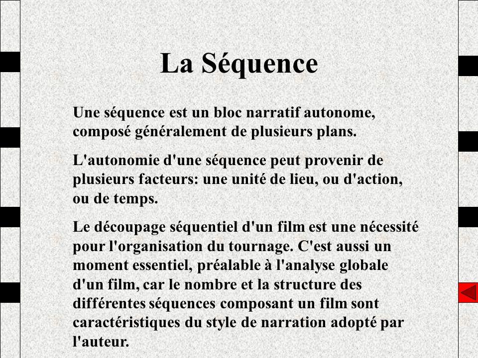 La Séquence Une séquence est un bloc narratif autonome, composé généralement de plusieurs plans.