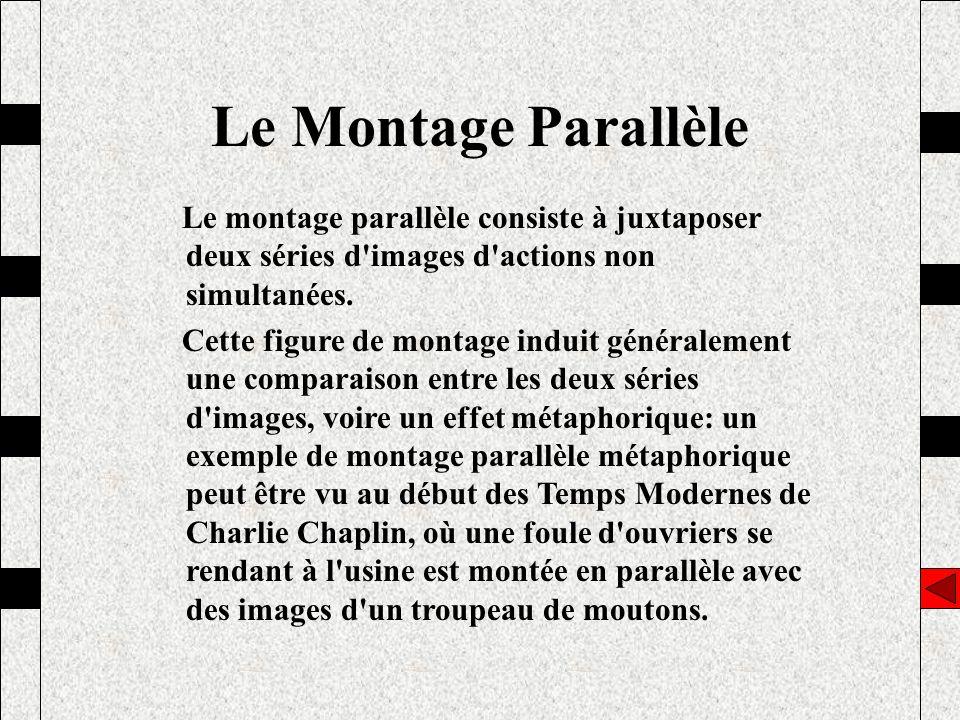 Le Montage Parallèle Le montage parallèle consiste à juxtaposer deux séries d images d actions non simultanées.