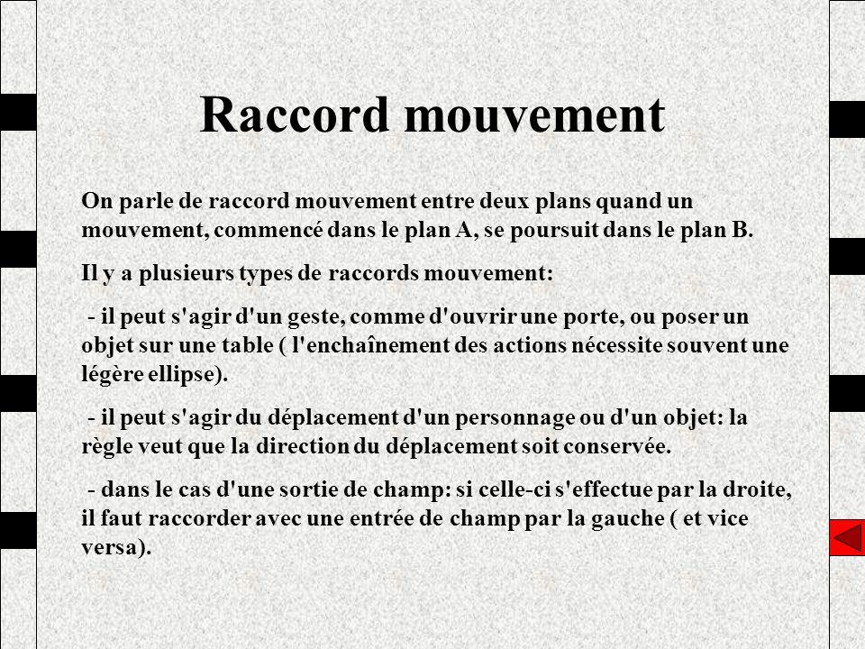 Raccord mouvement On parle de raccord mouvement entre deux plans quand un mouvement, commencé dans le plan A, se poursuit dans le plan B.