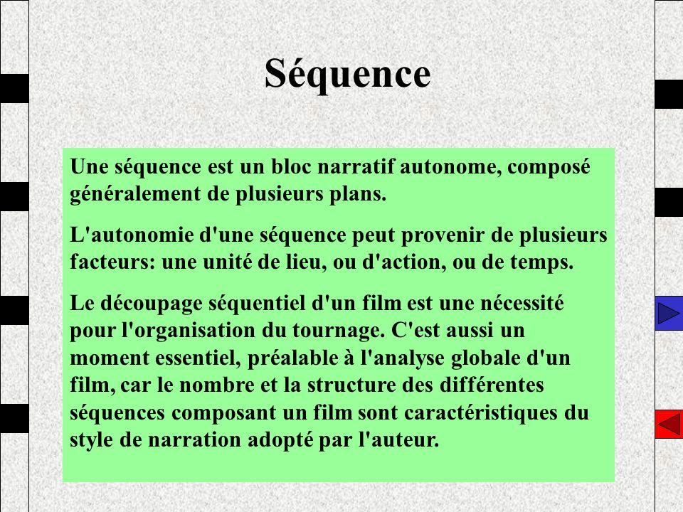 Séquence Une séquence est un bloc narratif autonome, composé généralement de plusieurs plans.