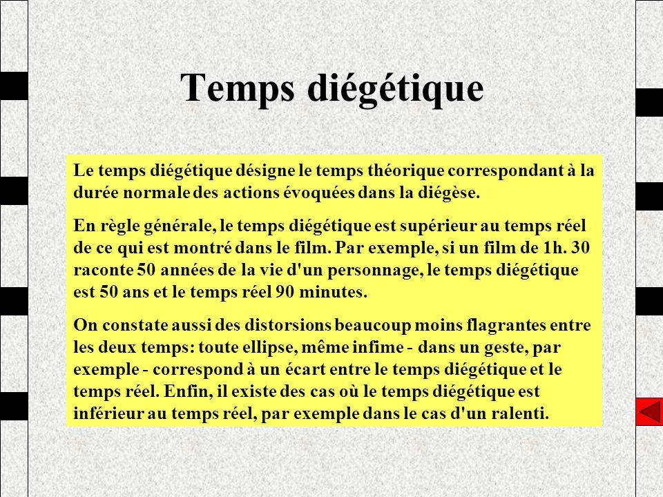 Temps diégétique Le temps diégétique désigne le temps théorique correspondant à la durée normale des actions évoquées dans la diégèse.