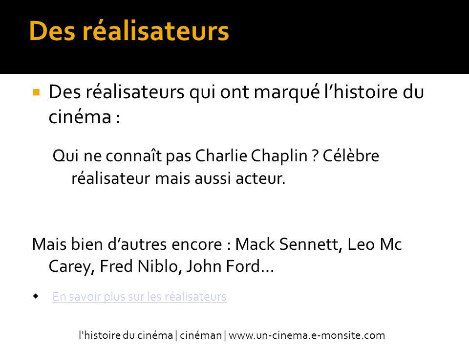 Des réalisateurs Des réalisateurs qui ont marqué l'histoire du cinéma :