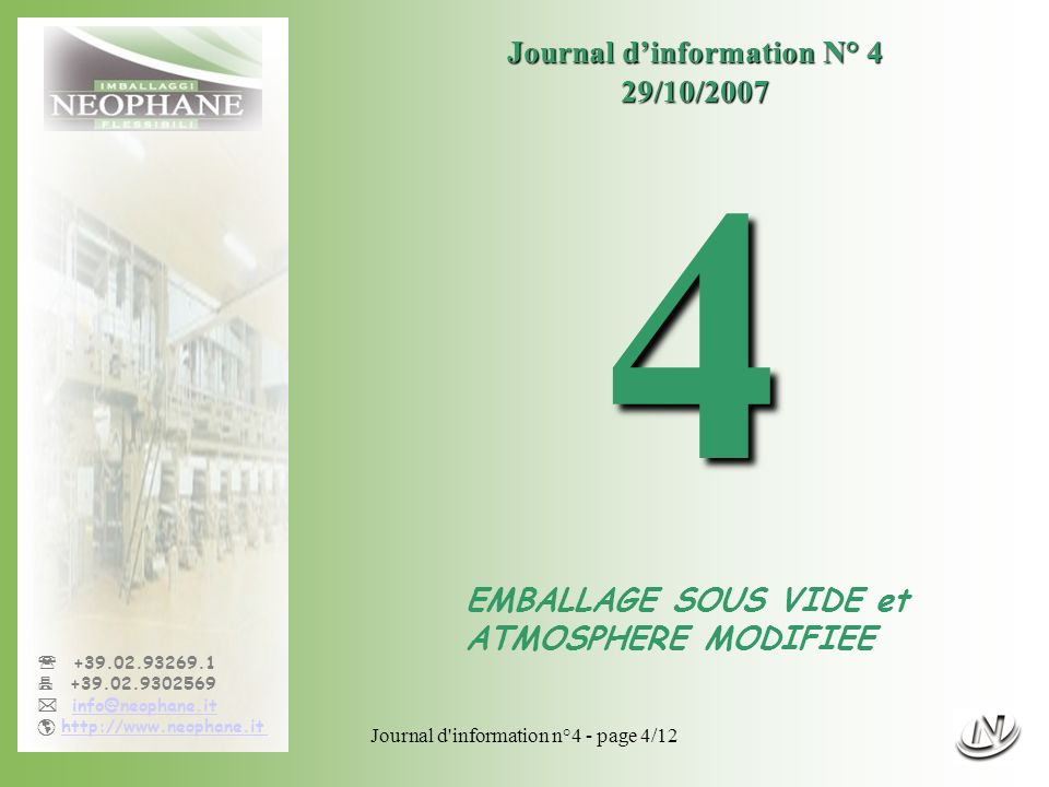 4 Journal d'information N° 4 29/10/2007