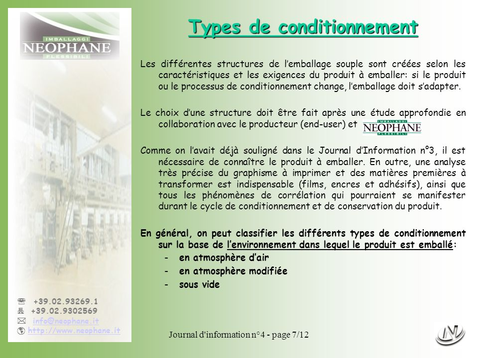 Types de conditionnement
