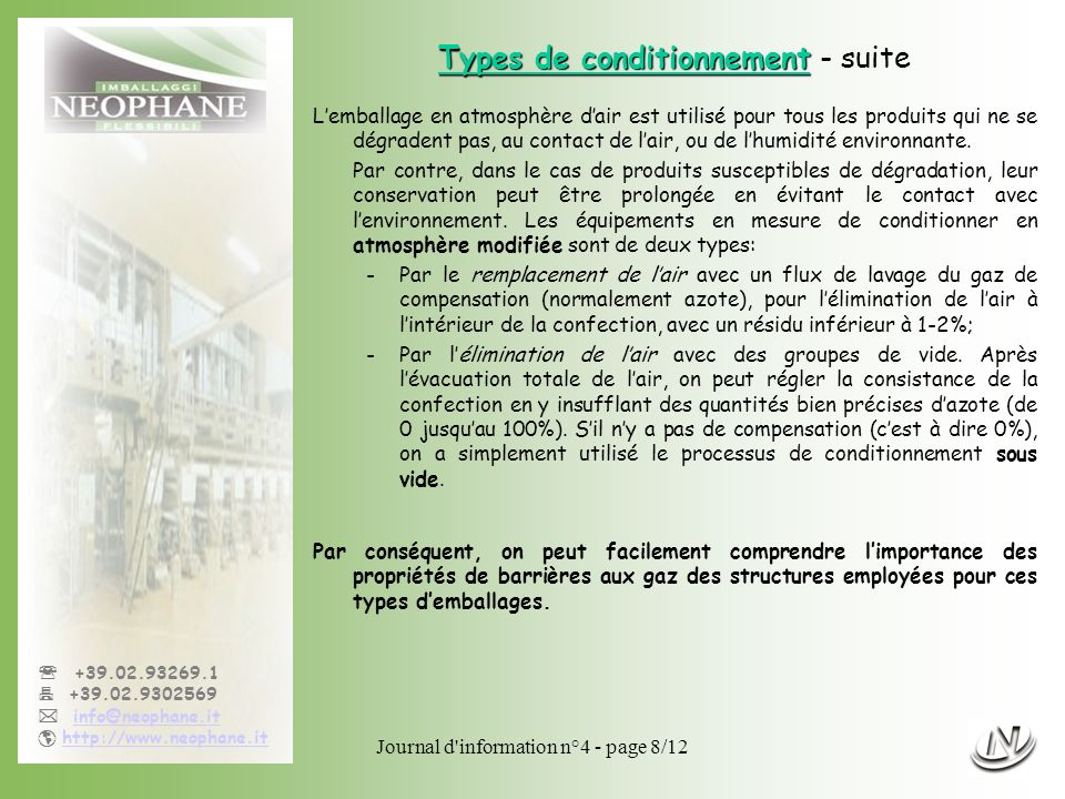 Types de conditionnement - suite