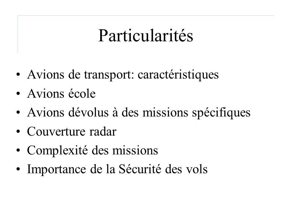 Particularités Avions de transport: caractéristiques Avions école