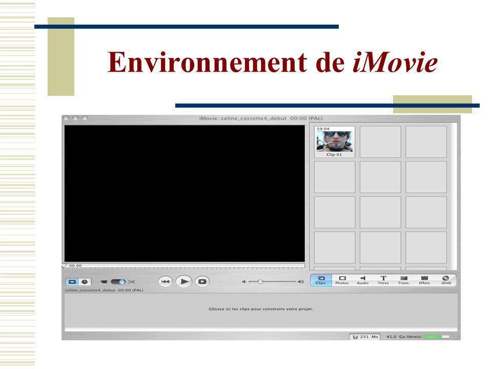 Environnement de iMovie
