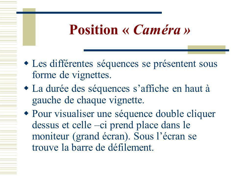 Position « Caméra » Les différentes séquences se présentent sous forme de vignettes.