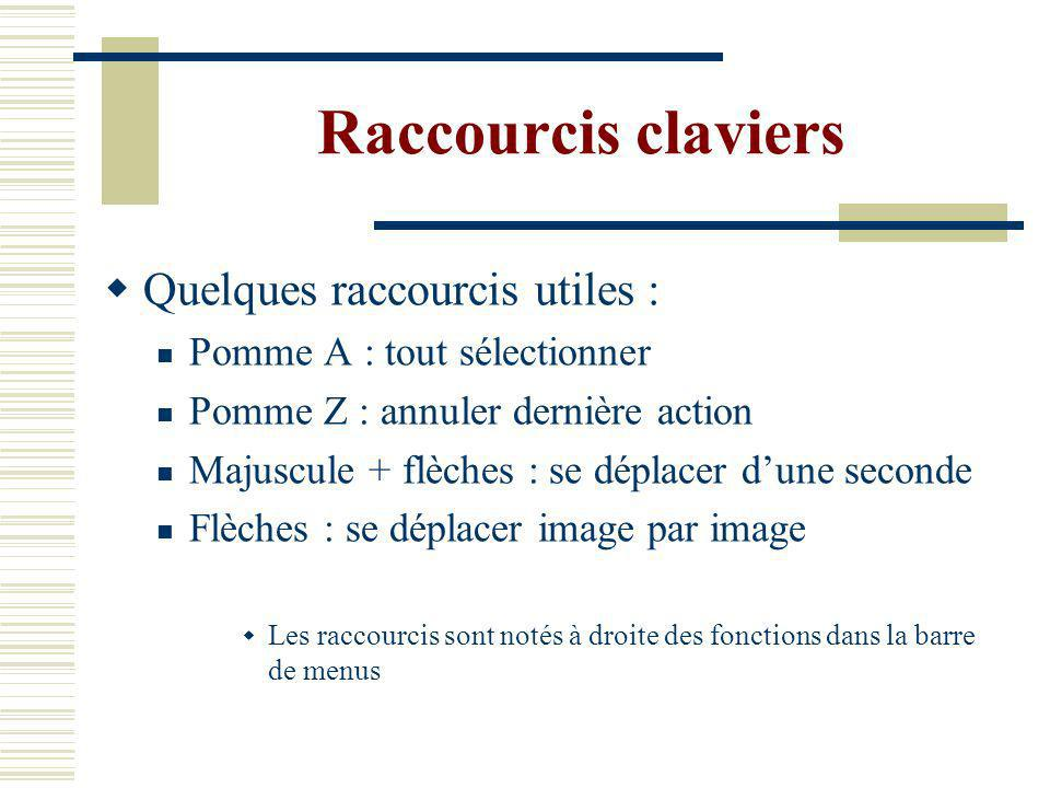 Raccourcis claviers Quelques raccourcis utiles :