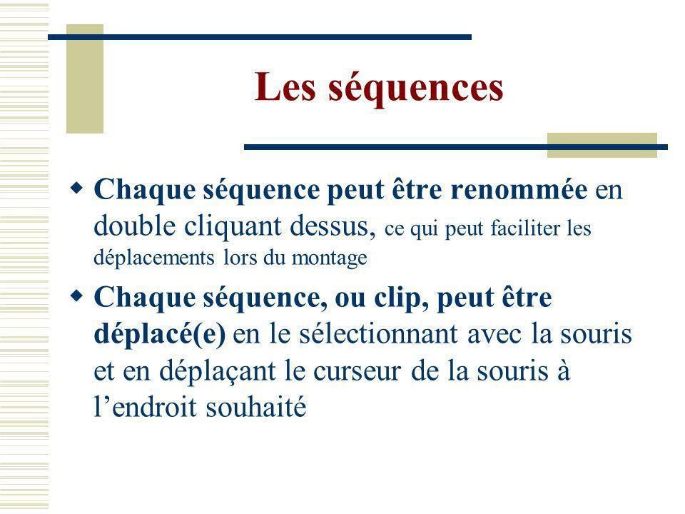 Les séquences Chaque séquence peut être renommée en double cliquant dessus, ce qui peut faciliter les déplacements lors du montage.