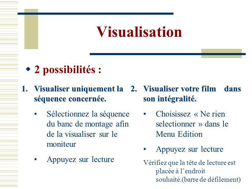 Visualisation 2 possibilités :