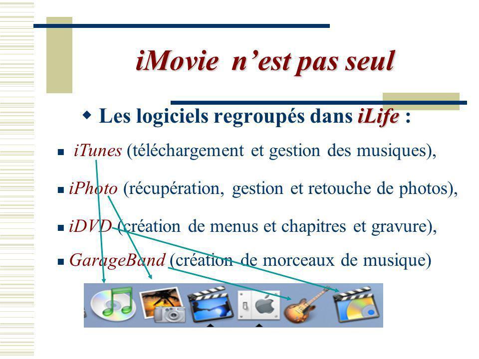 iMovie n'est pas seul Les logiciels regroupés dans iLife :