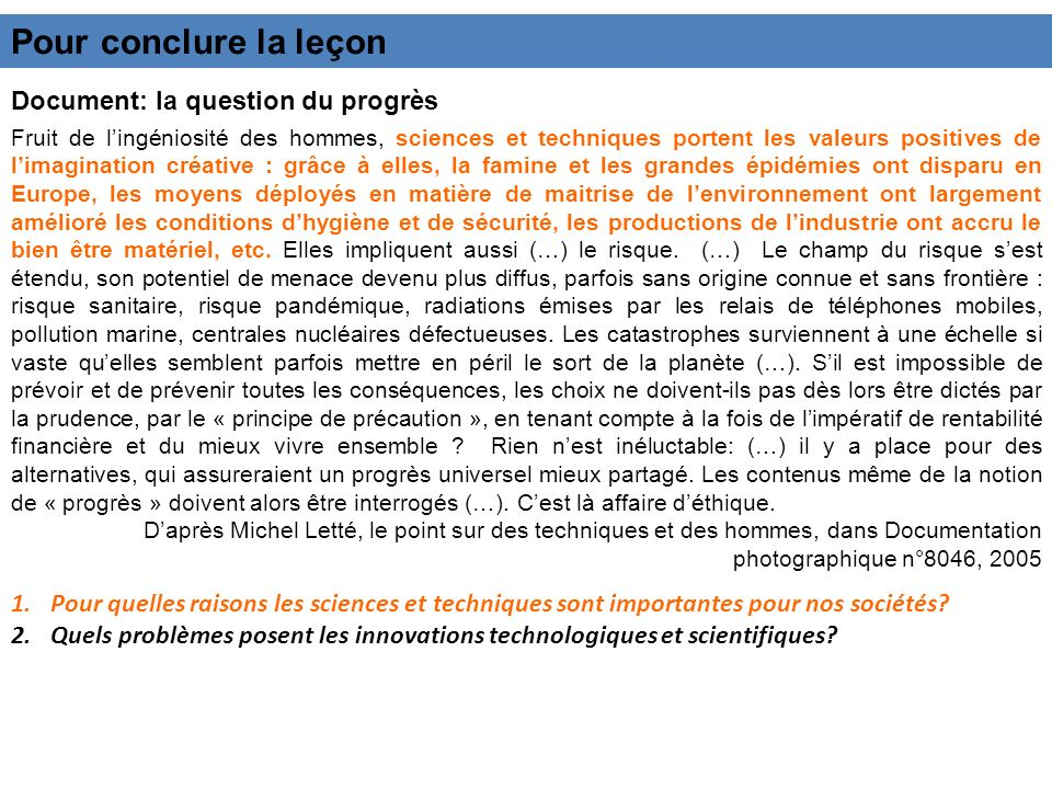 Pour conclure la leçon Document: la question du progrès