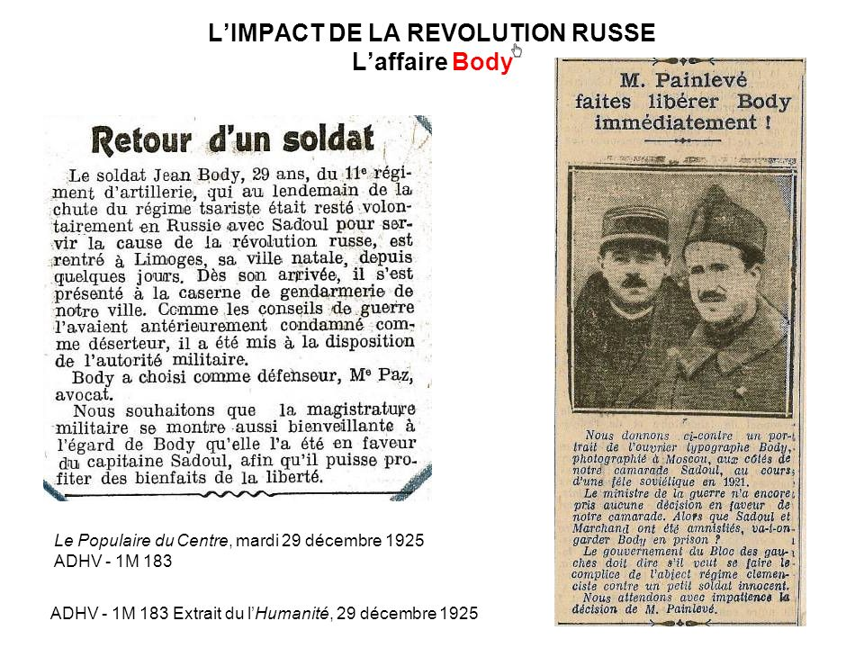 L'IMPACT DE LA REVOLUTION RUSSE L'affaire Body