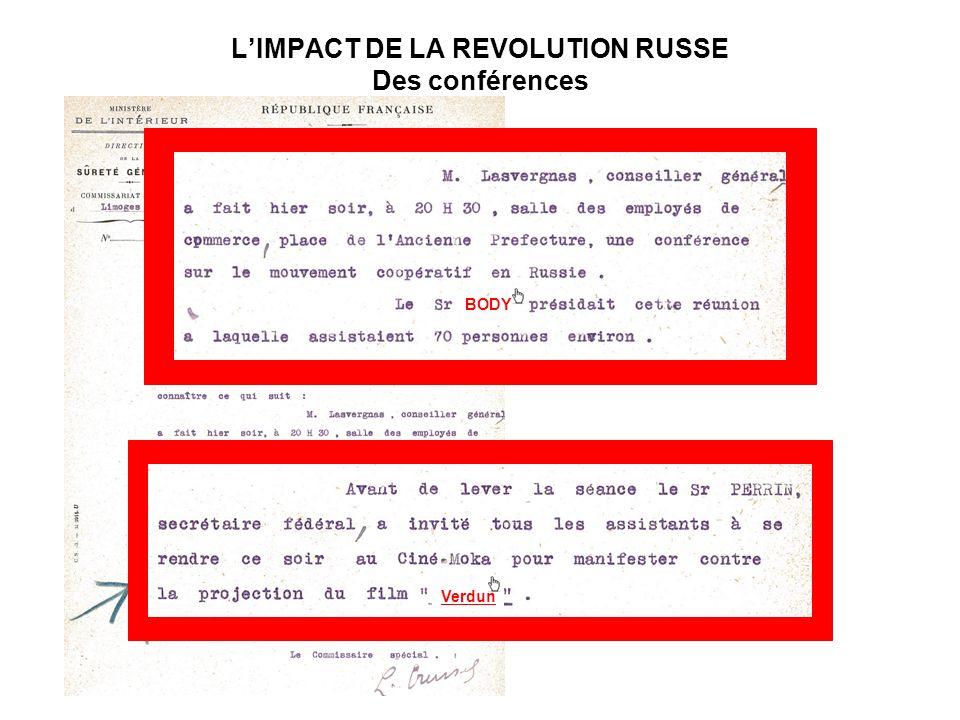 L'IMPACT DE LA REVOLUTION RUSSE Des conférences