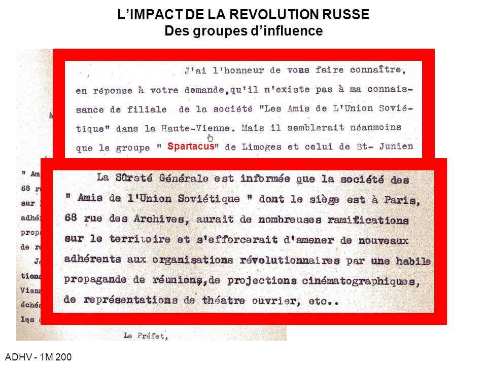 L'IMPACT DE LA REVOLUTION RUSSE Des groupes d'influence