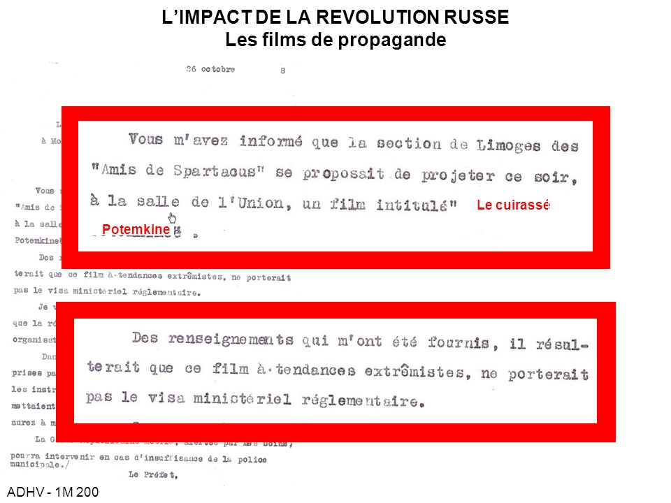 L'IMPACT DE LA REVOLUTION RUSSE Les films de propagande