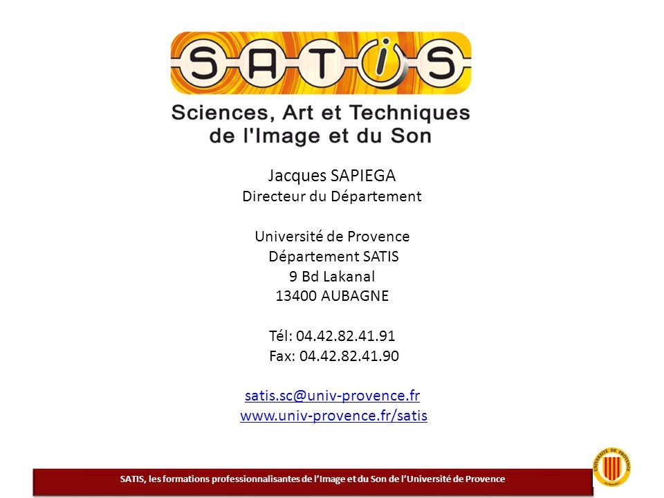 Jacques SAPIEGA Directeur du Département Université de Provence