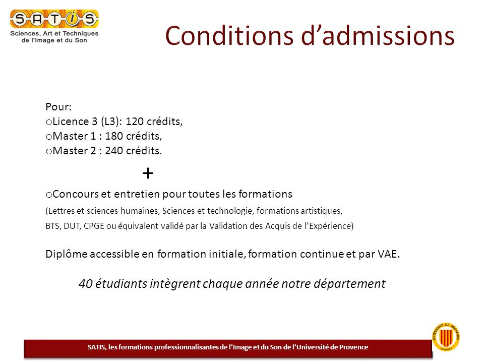 Conditions d'admissions