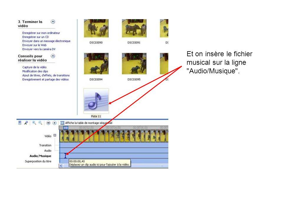 Et on insère le fichier musical sur la ligne Audio/Musique .