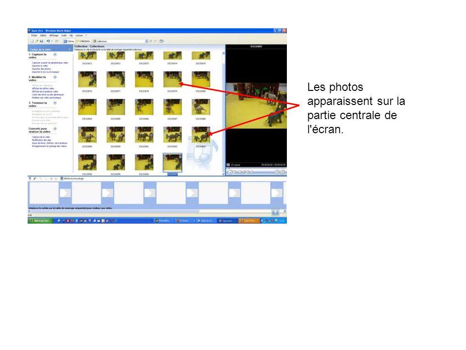 Les photos apparaissent sur la partie centrale de l écran.