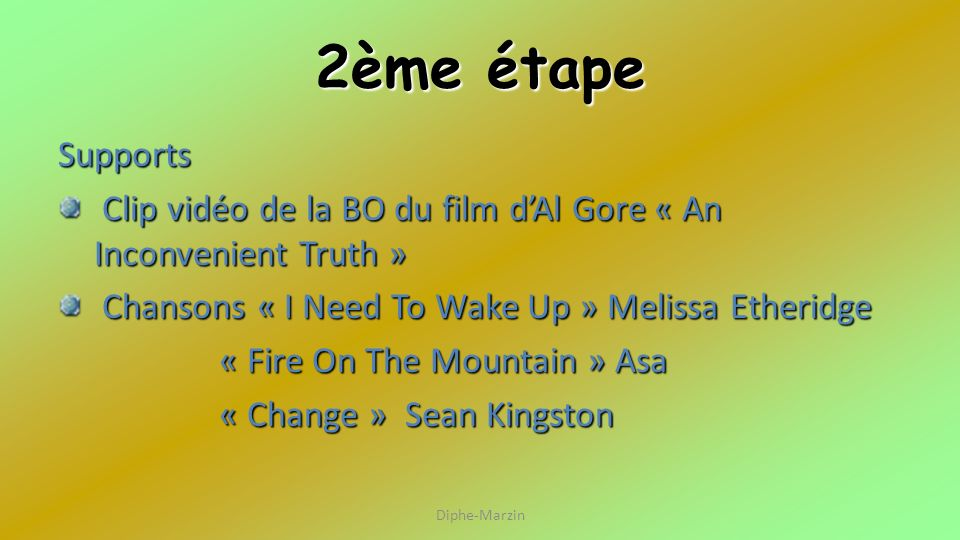2ème étape Supports. Clip vidéo de la BO du film d'Al Gore « An Inconvenient Truth » Chansons « I Need To Wake Up » Melissa Etheridge.