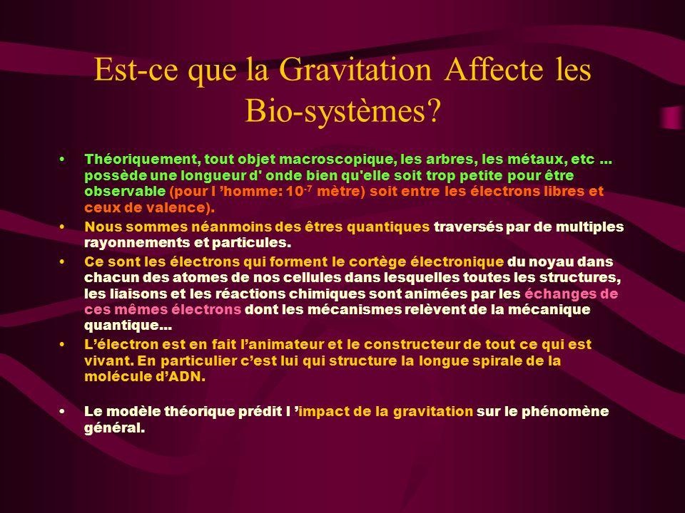 Est-ce que la Gravitation Affecte les Bio-systèmes