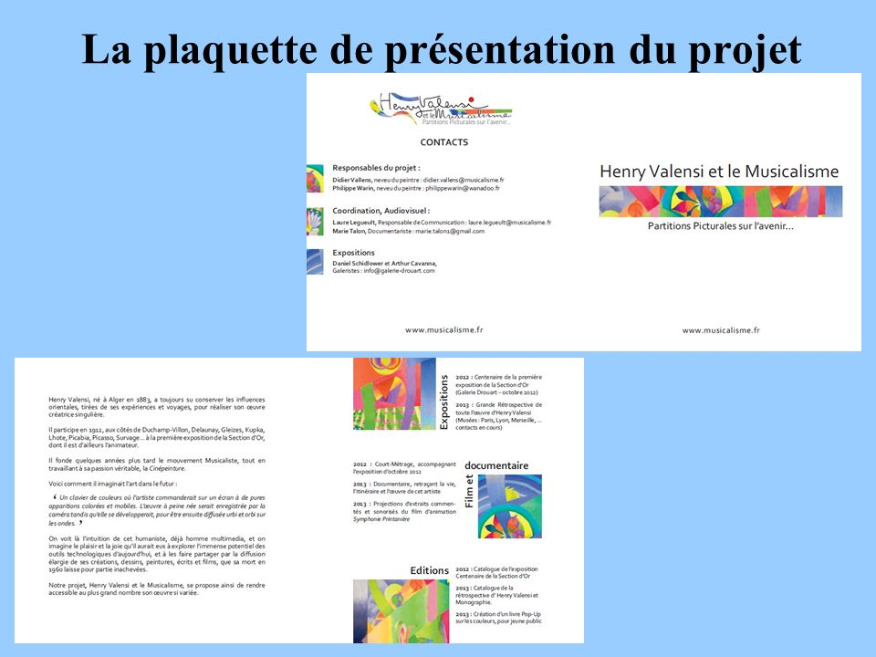 La plaquette de présentation du projet