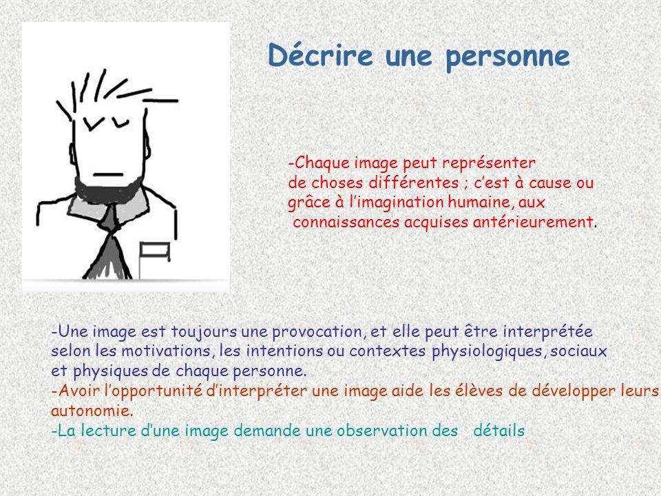 Décrire une personne -Chaque image peut représenter