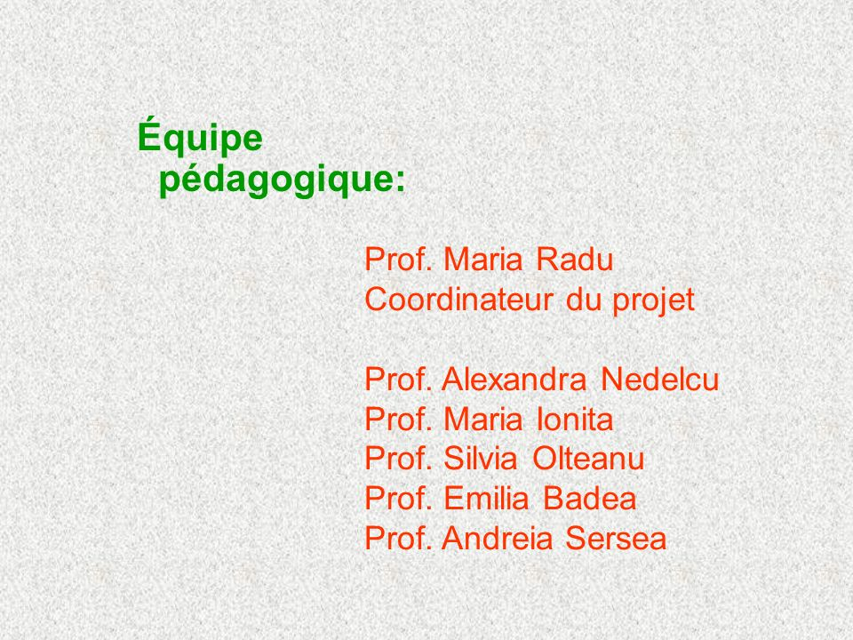 Équipe pédagogique: Prof. Maria Radu Coordinateur du projet